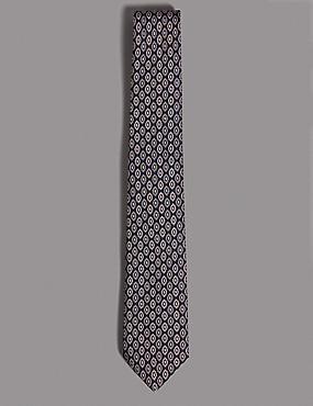 Pure Silk Foulard Tie, DUSKY ROSE, catlanding