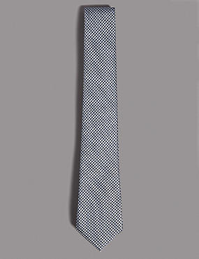Pure Silk Textured Tie, SLATE BLUE, catlanding
