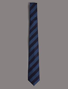 Silk Rich Striped Tie, BLUE MIX, catlanding