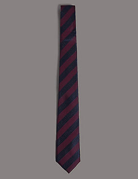Silk Rich Striped Tie, BURGUNDY MIX, catlanding