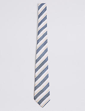 Silk with Linen Shadow Club Stripe Tie