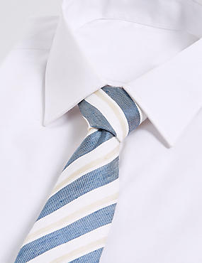 Linen Blend Striped Tie