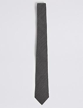 Wool Rich Textured Tie, MID GREY, catlanding