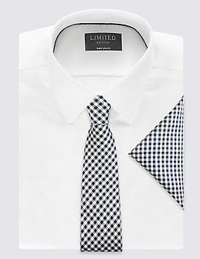 Pure Silk Checked Tie & Pocket Square Set