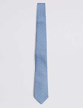 Pure Silk Spotted Tie, PALE BLUE, catlanding