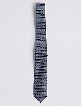 Spectacles Design Tie & Pin Set, NAVY MIX, catlanding