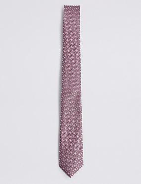 Geometric Print Tie, PINK MIX, catlanding