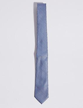 Geometric Print Tie, BLUE MIX, catlanding