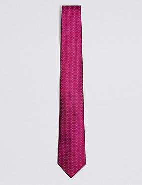 Pure Silk Spotted Textured Tie, MAGENTA, catlanding