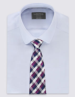 Pure Silk Gingham Checked Tie