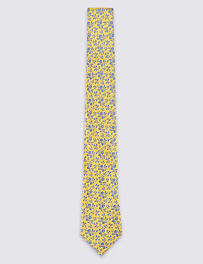 Pure Silk Floral Print Tie