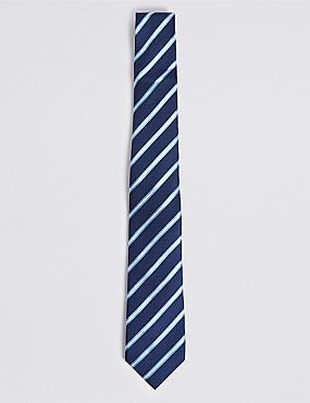 Pure Silk Striped Tie, RICH BLUE, catlanding