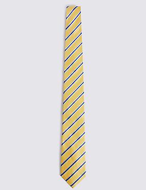 Pure Silk Striped Tie, YELLOW, catlanding