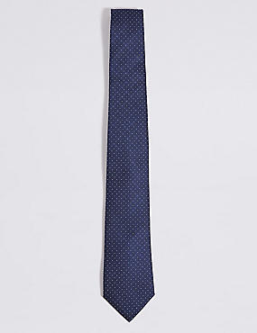 Pure Silk Spotted Tie, NAVY MIX, catlanding