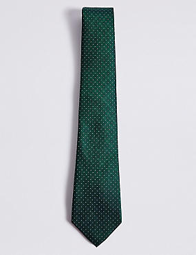 Pure Silk Spotted Tie, GREEN MIX, catlanding