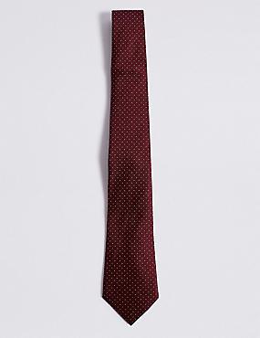 Pure Silk Spotted Tie, BURGUNDY MIX, catlanding