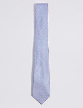 Pure Silk Spotted Tie, PALE BLUE MIX, catlanding