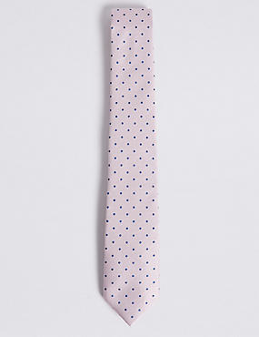 Pure Silk Spotted Tie, PALE PINK MIX, catlanding