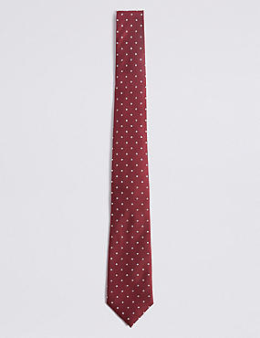 Pure Silk Spotted Tie, BURGUNDY MIX, catlanding
