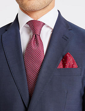 Pure Silk Textured Tie & Pocket Square Set, RED MIX, catlanding
