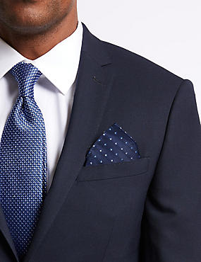 Pure Silk Textured Tie & Pocket Square Set, BLUE MIX, catlanding