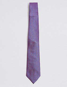 Pure Silk Cross Hatch Geometric Tie, PINK MIX, catlanding