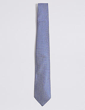 Pure Silk Cross Hatch Geometric Tie, BLUE MIX, catlanding