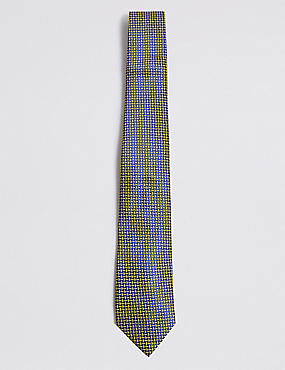 Pure Silk Cross Hatch Geometric Tie, YELLOW MIX, catlanding