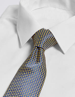 Pure Silk Cross Hatch Geometric Tie