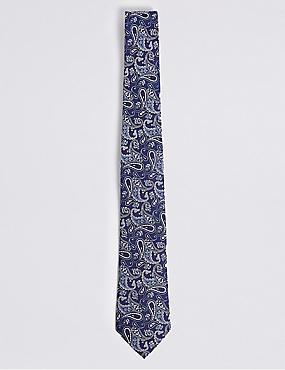 Pure Silk Paisley Tie, BLUE MIX, catlanding