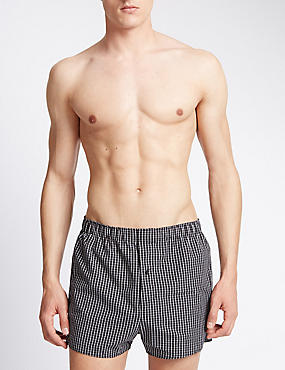 3 Pack Pure Cotton Easy to Iron Monochrome Grid Checked Boxers