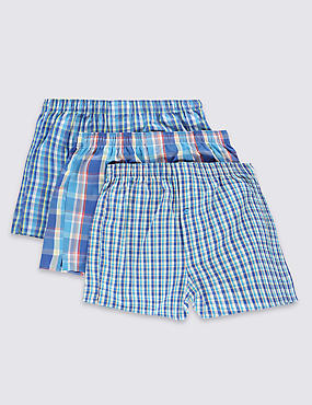 3 Pack Pure Cotton Easy to Iron Stay Soft Checked Boxers