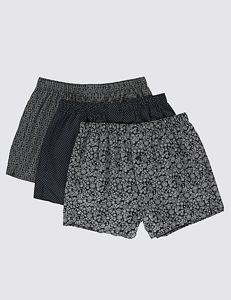 3 Pack Pure Cotton Easy to Iron Grid Paisley Print Boxers