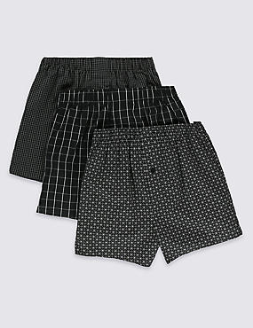 3 Pack Pure Cotton Easy to Iron Grid Checked Boxers