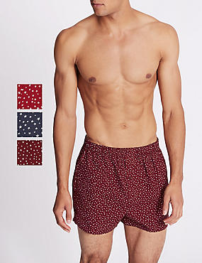 3 Pack Pure Cotton Star Print Boxers