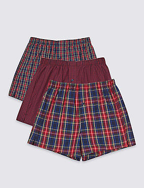 3 Pack Pure Cotton Checked Boxers