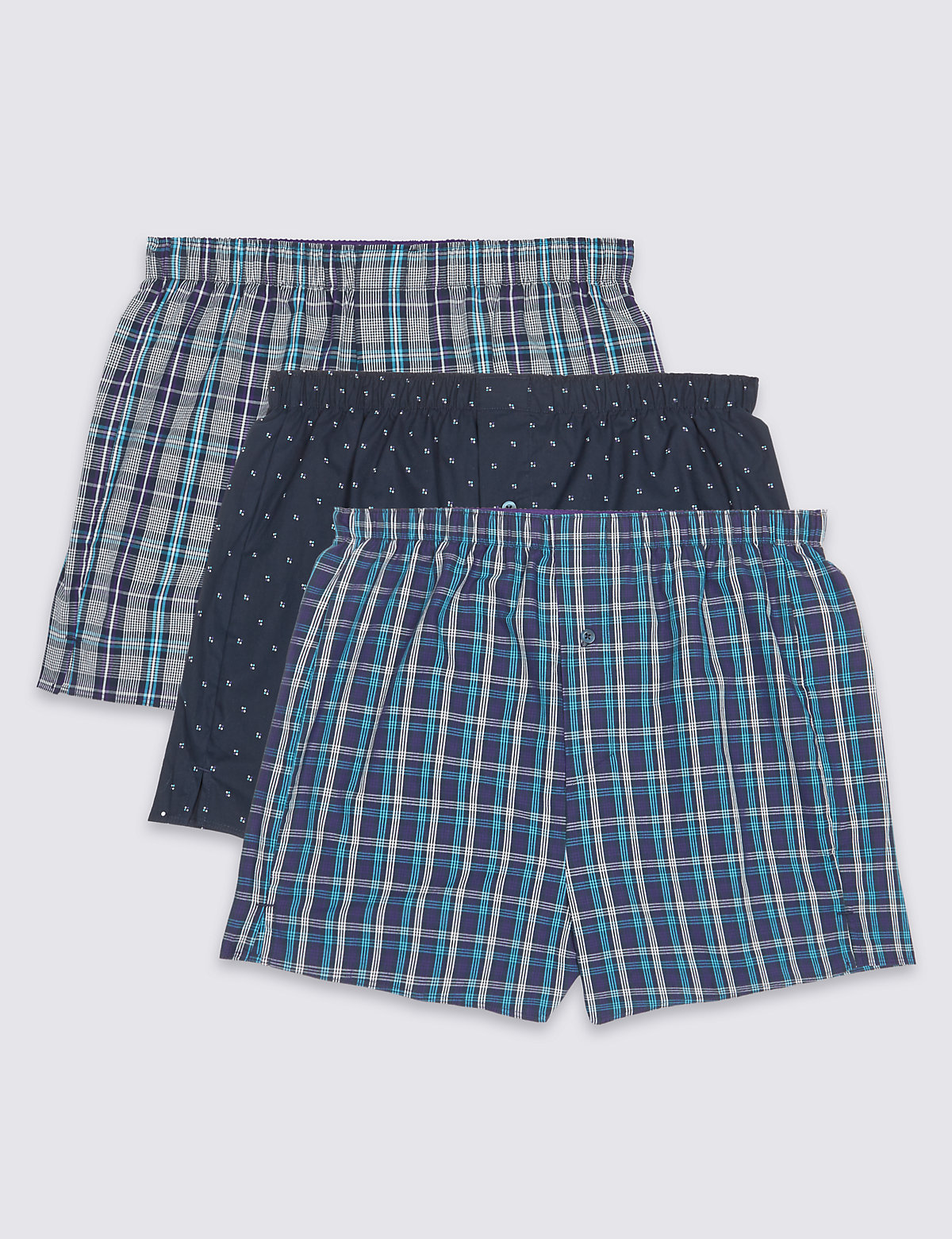Mens Boxers | Assorted Cotton Woven Boxers For Men | M&S