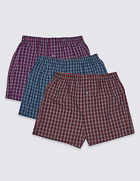 3 Pack Pure Cotton Checked Boxers, MULTI, catlanding