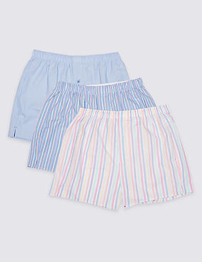 3 Pack Pure Cotton Striped Boxers, PASTEL MIX, catlanding