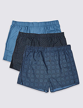 3 Pack Pure Cotton Printed Boxers, NAVY MIX, catlanding