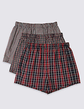 3 Pack Pure Cotton Checked Easy Care Boxers, NAVY/RED, catlanding