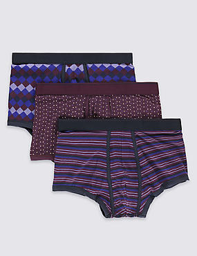3 Pack 4-Way Stretch Cotton Cool & Fresh™ Purple Harlequin Hipsters with StayNEW™