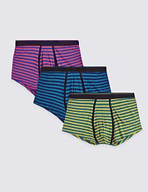 3 Pack Cotton Rich Striped Hipsters