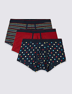 3 Pack Cotton Rich Cool & Fresh™ Hipsters, NAVY MIX, catlanding