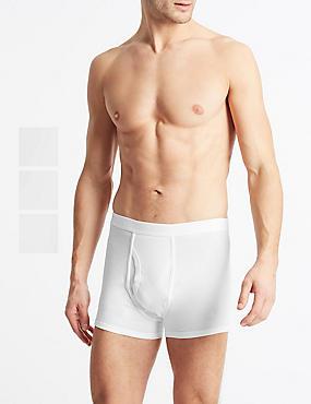 3 Pack Cool & Fresh™ Stretch Cotton Trunks, WHITE, catlanding