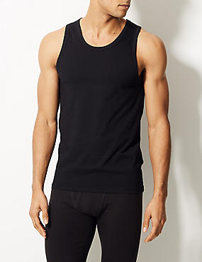 2 Pack Cotton Rich Cool & Fresh™ Stretch Vests, BLACK, catlanding