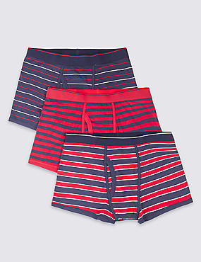 3 Pack Cool & Fresh™ 4-Way Stretch Cotton Seaside Striped Trunks with StayNEW™