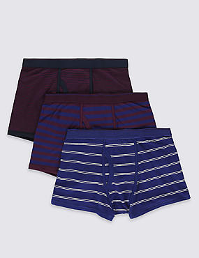 3 Pack Cotton Rich Cool & Fresh™ Blackcurrant Striped Trunks with StayNEW™