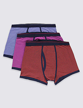 3 Pack Striped Stretch Trunks