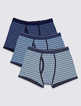 XXXL 3 Pack Cotton Rich Striped Trunks